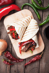 Fajitas with grilled vegetable