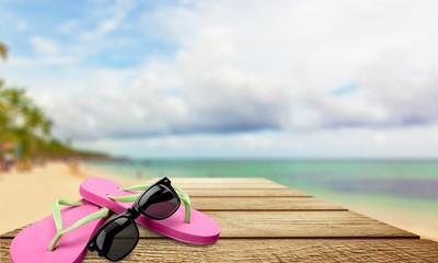 Flip-flop, Beach, Sunglasses.