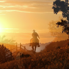 Sunset Cowboy.  A cowboy rides off into the sunset in transparent layers of orange and yellow clouds, a fence and trees.