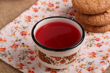 compote juice with almond biscuits morning breakfast lunch dinner home kitchen organic health eco rustic kitchen