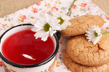 compote juice with daisies almond biscuits morning breakfast lun