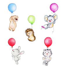 Set of cute animals flying on balloons