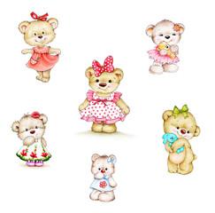 Keuken foto achterwand Beren Set of cute Teddy bears girls