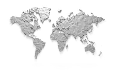 Origami 3D world map isolated with clipping path
