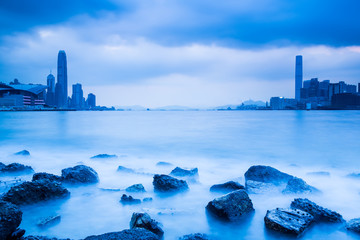 Fotomurales - Victoria Harbour of Hong Kong in blue