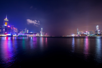 Fotomurales - Victoria Harbour of Hong Kong at night