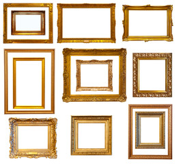 Set of luxury red gilded frames. Isolated over white