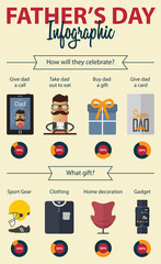 Fathers  Day infographics. Cartoon character. Vector Illustration.