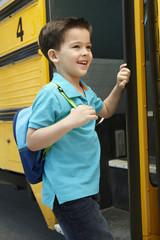 Elementary School Pupil Board Bus