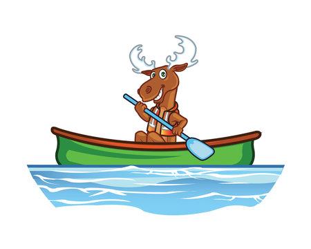 Moose in Canoe