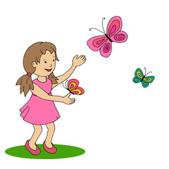 Happy little girl with butterfly