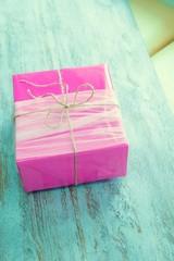 Gift, pink, white.