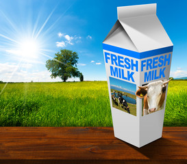Fresh Milk Beverage Carton in Countryside