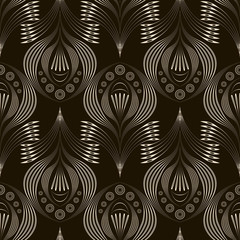 Vector seamless pattern repeating texture. Stylish wavy monochro