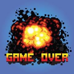 game over boom message pixel art illustration