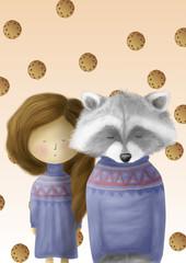 Енот с девочкой мечтают о печенье