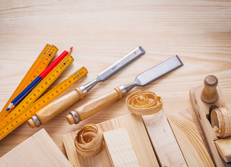 carpentry set joiners chisels wooden meter pencil shavings and b