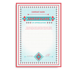 template certificates in soft colors with an ornament for the