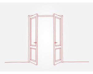 Red contour doors
