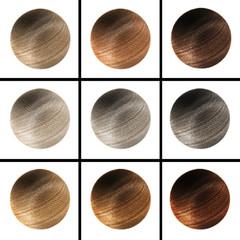 Set fur balls of different colors