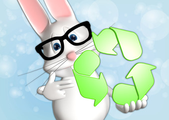 Hase recycle recycling Symbol 3D weiß zeigen Comic