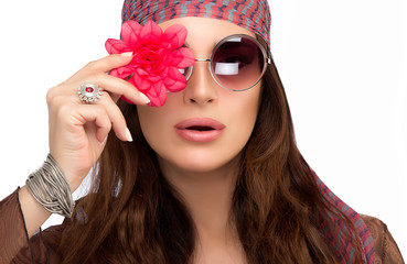 Stylish Young Woman with Red Flower Over her Eye
