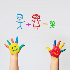 painted hands of little child - happy FAMILY