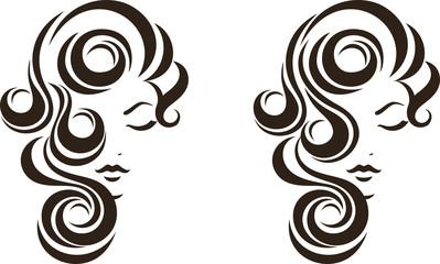Hair stile icon, female face