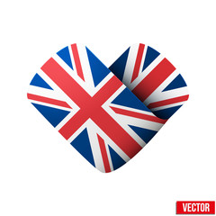 Flag icon in the form of heart. I love United Kingdom.
