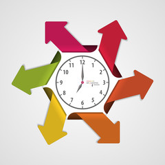 Infographics clock with arrows. Vector illustration