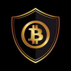 Golden bitcoin icon circle badge black-gray background. Vector