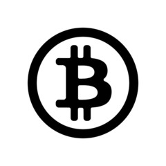 Black bitcoin icon in a circle on a white background. Vector