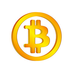 Orange bitcoin icon in a circle on a white background. Vector