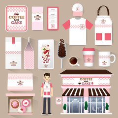 Vector restaurant cafe set. Layout set of corporate identity mock up template.