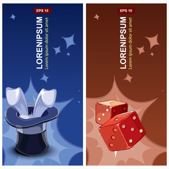 labels with wizard hat and red cubes for dice