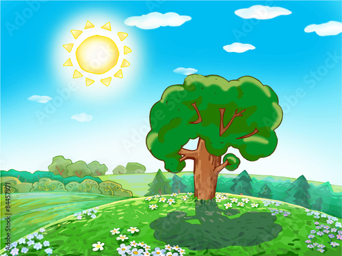 Children Vector Drawing Green Tree On A Sunny Day In The Woods On A
