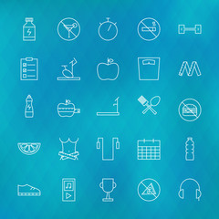 Fitness and Dieting Line Icons Set over Polygonal Blurred Backgr