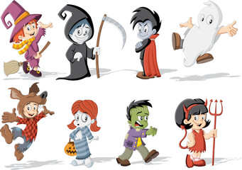 Cartoon children wearing costumes of classic halloween monster characters