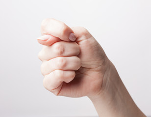 Gesturing hand isolated on white background
