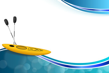 Background abstract blue yellow kayak sport frame