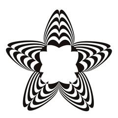 Geometric optical illusion black and white star on a white