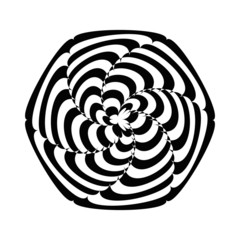 Geometric optical illusion black and white flower in a circle on