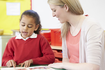 Teacher Helping Female Pupil With Practising Reading At Desk