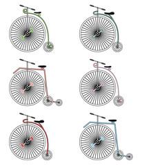 Vintage bikes on white background