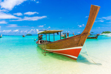 Paradise Island with a Long tail boat, Koh Lipe