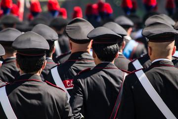 Carabinieri durante la parata del 2 giugno festa della repubblica italiana