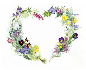 Heart frame from flowers. Spring time. Watercolor hand drawn illustration.