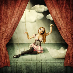 Beautiful woman marionette