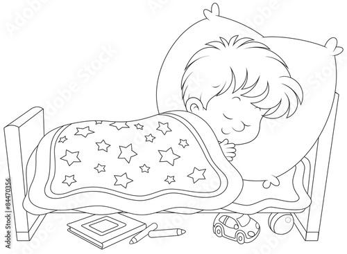 Раскраска кровать с мальчиком