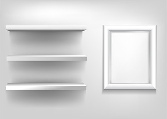 Blank realistic exhibition shelves and white frame for a poster on a light background. Vector illustration